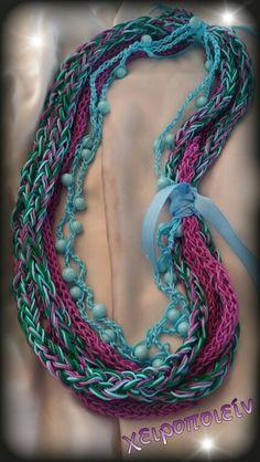 Πλεκτό κολιέ με βελονάκι  Chroset necklace Χειροποίητα κοσμήματα Turquoise Necklace, Crochet Necklace, Jewelry, Fashion, Tejidos, Jewelry Ideas, Jewellery Making, Moda, Jewels