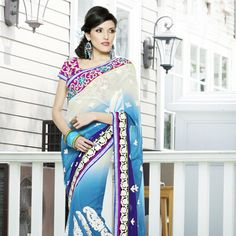 Shaded Off White and Blue Faux Georgette Saree with Blouse