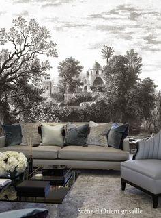Inspiration déco : la tapisserie trompe l'oeil dans des tons gris / grey living room / deco / déco  http://decoration.datcha-inspire.com/