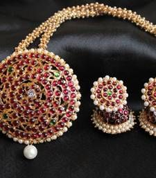 Buy BEAUTIFUL UNIQUE PEARL CHAIN HUGE TEMPLE PENDANT NECKLACE SET necklace-set online