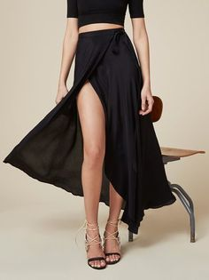 Tie one on. This is a wrap maxi skirt with a high slit.