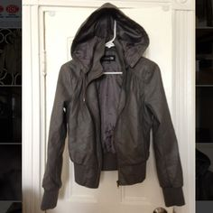 F21 faux leather jacket Great condition. No rips or stains. Draw strings, hood, and collar detail. Charcoal grey color Forever 21 Jackets & Coats