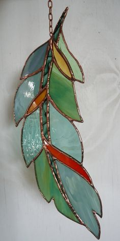 "Stained Glass Window ""GHOST DANCE FEATHER "" hand blown glass , hand poured glass, stained glass panel, sun catcher"