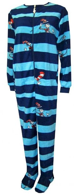 We love Dr. Seuss and his fun tales... you will love these footie pajamas for women!  The Cat in the Hat is such a classic and we like the detail of a Cat in the Hat zipper pull on these PJs.