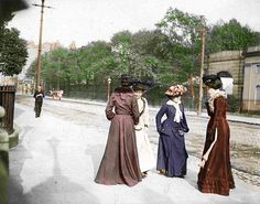 Ladies on Harcourt Street, Dublin late Colourised by Pearse. Dublin Street, Dublin City, Old Pictures, Old Photos, Vintage Photos, Irish Culture, Photo Engraving, Ireland Homes, Woman Standing