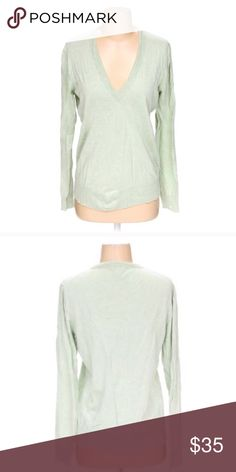 J. Crew sea foam green v-neck sweater 16.5 bust and 24 inch length. Size large but seems to have shrunk in wash so please see measurements! J. Crew Sweaters V-Necks