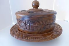 Vintage Hand Carved Philippine Mahogany Wood Covered Cake Stand w Cover Lazy Susan 1950s