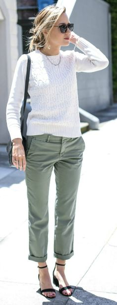 Mary Orton + gorgeously elegant spring look + khaki chinos + white knit sweater + understated pair of heeled sandals + simple but smart + rest assured it + suit any occasion! Trousers: Banana Republic, Sweater: Old, Sandals: Steve Madden, Bag: Moyi Moyi.