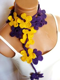 Purple, Yellow, crochet Flower Lariat Scarf. Fashion Flower Scarves, Necklace... by WomanStyleStore