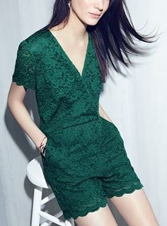 Gorgeous green lace fabric puts an ultrafeminine spin on this glam romper. #nordstrom #anniversarysale