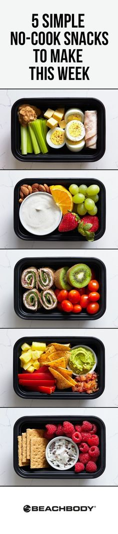 No time for a full meal prep? These no-cook snack boxes are easy to put together and are filling enough to pass for a regular meal, or you can snack on them throughout the day. Each has protein or healthy fats to help satisfy hunger, and fiber to keep you feeling full longer. // healthy recipes // snack ideas // healthy snacks // snack recipes // snack boxes // nutrition // clean eating // no-cook // kid friendly // meal prepping // Beachbody // BeachbodyBlog.com