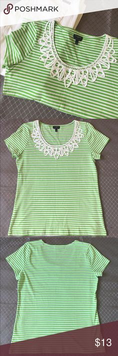 Talbots Super Soft Cotton Tee Talbots tee in green and white stripes. Super Soft Cotton line. 100% Pima Cotton Embroidery neckline detail. Shot sleeves. Excellent condition. Talbots Tops Tees - Long Sleeve