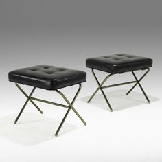 Jacques Adnet; Brass and Leather Folding Stools, 1950s.