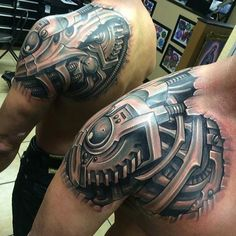 Front and Back Shoulder Bio-mechanical Tattoo