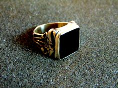 Stunning vintage sterling silver onyx ring- Antique mens ring-Man statement ring-Engraved mens rings-Onyx ring-Artisan jewelry-Greek art by ArchipelagosBreeze on Etsy