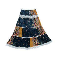 Mogulinterior Womens Skirt Tiered Lace Work Ethnic Printed Gypsy Maxi Skirt   #harempant #bohopant #gypsypant #yogaypant #mogulinterior.com