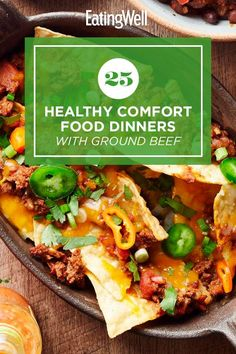 Enjoy one of these comforting dinner recipes made with ground beef. Ground beef is a quick-cooking, budget-friendly protein that works in a variety of dishes including pasta, chili and more. Try recipes like Broccoli, Beef & Tater Tot Hotdish and Mini Meatloaves with Green Beans & Potatoes for a cozy, delicious dinner that you'll turn to again and again. #comfortfood #healthyrecipes #healthycomfortfood #healthyrecipes Ground Beef Pasta, Healthy Ground Beef, Dinner With Ground Beef, Healthy Dishes, Healthy Recipes, Healthy Meals, One Pot Dinners, Healthy Comfort Food, Vegetarian Dinners