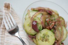 This is inspired by a cucumber salad my mom makes, and I have to give kudos to her for inspiring me to always take her ideas and try to make my own, or more recently spin it to remove the SAD ingre...