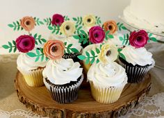 Flower Cupcake Toppers Boho ThemeTea Party by GrainyDayCreations