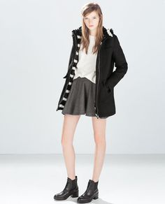PARKA WITH PATTERNED FUR LINING