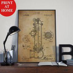 Fire Hydrant Patent Art Print-Old Poster-Patent Prints-Patent Poster-Printable Wall Art-Man Cave Decor-Boyfriend Gift-Husband Gift For Men