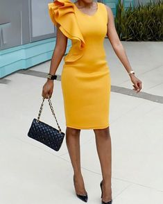 Stylish Ruffled Patchwork Sleeveless Bodycon Dress Women Clothes For Cheap, Collections, Styles Perfectly Fit You, Never Miss It! Stylish Dresses, Fashion Dresses, Dresses For Work, Fashion Sandals, Dress Outfits, Midi Dress Outfit, Sweater Outfits, Elegant Dresses, Fashion Pattern