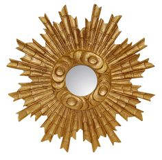 sunburst wall mirror antique gold leaf color finish
