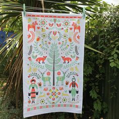 Christmas Scandi Folk Art 100% Cotton Woodland Tea Towel