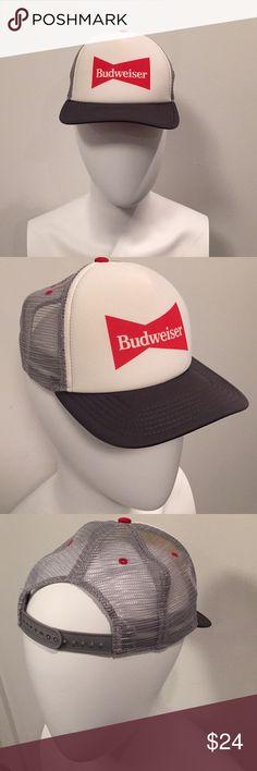 Budwieser Hat Cap Red Light Weight Snap Adjustable Back Strap Nice NWOT