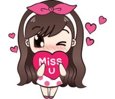 I like to wear polka dot dress.Let enjoy with my lovely stickers. Love Cartoon Couple, Cute Cartoon Pictures, Cute Couple Art, Cute Cartoon Drawings, Girl Cartoon, Cute Love Gif, Cute Love Pictures, I Miss You Cute, Mickey Mouse Cartoon