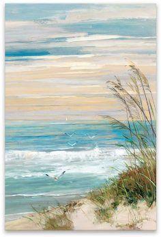 Strand In Der Abenddammerung Hand Verschonert Leinwand Mit