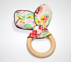 Natural Teether Bunny Ear Fabric Wood Sensory by SNGInspirations, $11.50