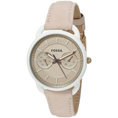 Fossil Tailor Multifunction Light Brown Leather Watch (180 CAD) ❤ liked on Polyvore featuring jewelry, watches, fossil jewellery, leather crown, leather wrist watch, fossil jewelry and analog watches