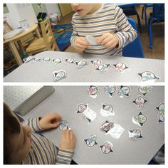 Freebie printed from online and laminated, the children worked on their letter recognition by matching the upper case and lower case letters on the penguins. NAEYC Standard: 1.1.2 Word Recognition Skills