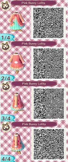 Pink and Blue Bunny Lolita Animal Crossing QR Code Dress