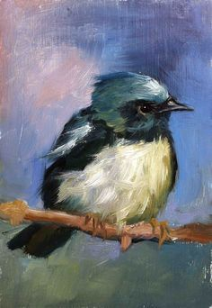 Blackthroated Blue Warbler Original oil painting by FinchArts, $150.00