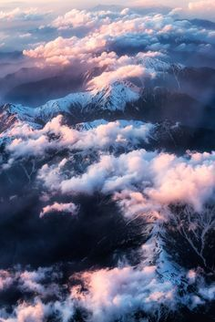 Beautiful nature photography: mountains landscape with snow and clouds in sunset!