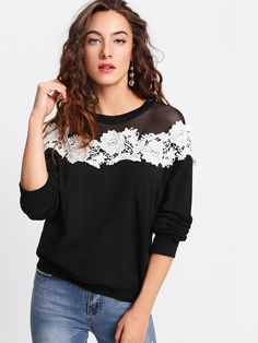 To find out about the Mesh Yoke Lace Applique Pullover at SHEIN, part of our latest Sweatshirts ready to shop online today! Sweat Shirt, Black Mesh, Lace Applique, Fashion News, Fashion Sale, Diy Fashion, Fashion Fashion, Vintage Fashion, Gray