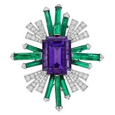 Chanel by Paul Iribe Amethyst Emerald Diamond Platinum Spray Brooch   From a unique collection of vintage brooches at https://www.1stdibs.com/jewelry/brooches/brooches/
