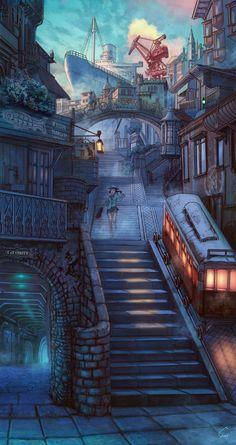 ✮ ANIME ART ✮ anime scenery. . .fantasy world. . .city street. . .street signs. . .stairs. . .trolley. . .ship. . .amazing detail. . .kawaii