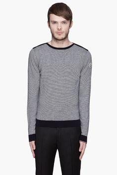 MONCLER Black and white horizontal pinstripe sweater