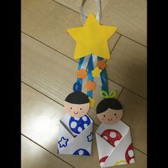 野菜スタンプの着物をまとった織姫と彦星<0歳児>