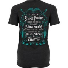 The I Am A Simple Person shirt is printed on a premium, heather black unisex t-shirt made of a ridiculously soft 50/50 blend of cotton and polyester. Ships within 1 business day. Estimated delivery within 2-5 business days.
