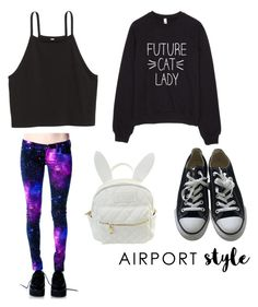 """Whatevs"" by treebarkintheoak ❤ liked on Polyvore featuring cutekawaii, Converse, GetTheLook and airportstyle"
