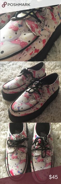 Hello Kitty x T.U.K. Creepers Size 9 Hello Kitty x T.U.K. Creepers! Size 9. I got them as a gift but unfortunately have such bad knees I can't ever wear them! They have only been worn out twice! Practically new! No damages! Shoes Platforms