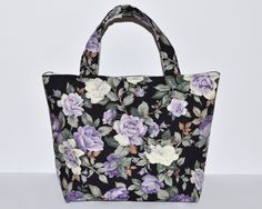 Women's Handbag, Women's Tote Bag, Handmade Bag, Contains Pocket & Magnetic Button Closure, Pretty Purple Floral Fabric, Lovely Gift for Her by RachelMadeBoutique on Etsy https://www.etsy.com/listing/267722368/womens-handbag-womens-tote-bag-handmade