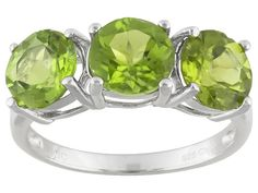 4.00ctw Round Manchurian Peridot(Tm) Sterling Silver 3-stone Ring