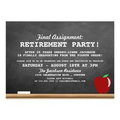 Teacher Retirement Party Chalkboard Invitation - Digital File PDF ...