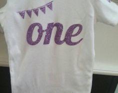 Birthday Girl ONESIE  - Lavender Purple Glitter One - First birthday outfit - 1st Birthday Glitter sparkle lavender purple ONE Vinyl