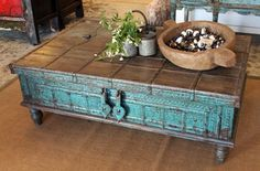 oriental-antiques-modern-living-room-low-indian-trunk-in-jodhpur-blue. Jodhpur, Ethnic Home Decor, Indian Home Decor, Centre Table Living Room, Indian Interiors, Indian Furniture, Indian Homes, Asian Decor, Decoration